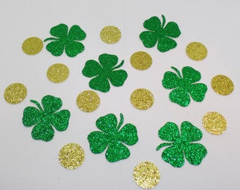 Glitter Shamrock Confetti  (100 pieces) Die Cut - Green and Gold, Coin, St Patrick's Day Party Table Decorations, Four Leaf Clover