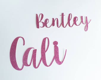 Custom Name Confetti LARGE (10 Pieces) Die Cut - Raspberry Pink Glitter - Cursive - Any Name, Word, Team, Cursive font