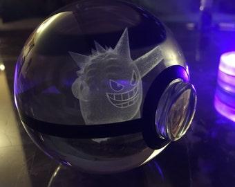 Crystal Glass 3D Laser Engraved Pokeball (Gengar)