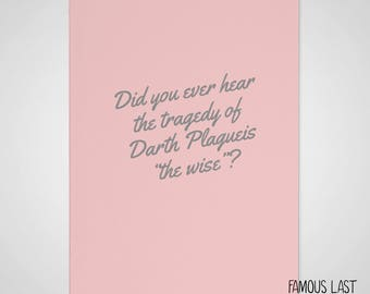 Star Wars - Darth Sidious / Emperor Palpatine - Tragedy of Darth Plagueis - Prequel Memes - any occasion funny card