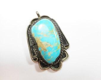 Turquoise Pendant, Navajo Pendant, Vintage Navajo, Native American, Sterling Turquoise Pendant, Old Pawn Pendant, Vintage Pendant, #2294
