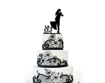Wedding Cake Topper Bride & Groom 3mm Acrylic Black