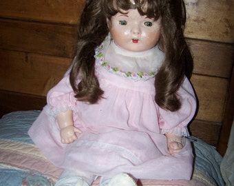 "26"" Composite Doll, (repaired) From 1940's or 50's"