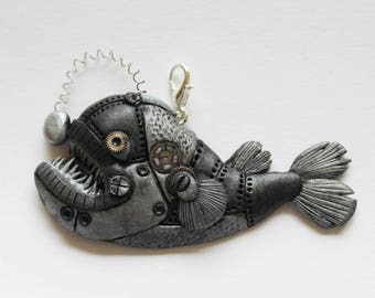 Steampunk anglerfish pendant, angler fish polymer clay, polymer clay fish necklace, steampunk necklace, statement necklace, steampunk fish
