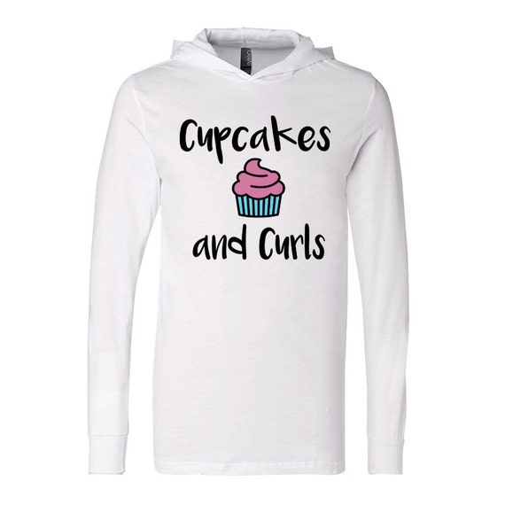 7b4512e8122 Cupcakes and Curls Jersey Hoodie Workout Shirt by RockChalkAndIron good