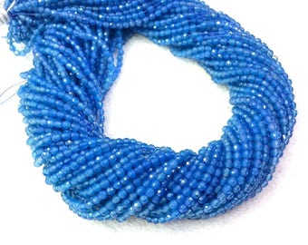 Blue Agate Faceted Beads 2mm 3mm 4mm Grade AAA Blue Onyx Small Blue Beads Tiny Blue Beads Tiny Blue Gemstones Blue Agate spacer beads