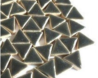 Triangle Ceramic Mosaic Tiles - Mid Grey - 50g