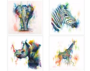 Safari Collage 4 (12X12) each