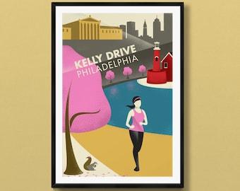 Philadelphia skyline print | Philadelphia art | Kelly Drive | Boathouse Row | Philadelphia Art Museum | Philadelphia, Pennsylvania art
