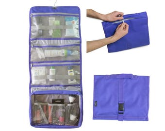 Hanging Toiletry Bag & Cosmetic Makeup Pouch with Handle and external Secret Pocket