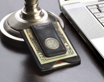 Monogram Money Clip Black or Brown , Personalized Leather Magnetic Money Clip