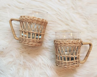 Vintage wicker mugs set of two wicker mugs
