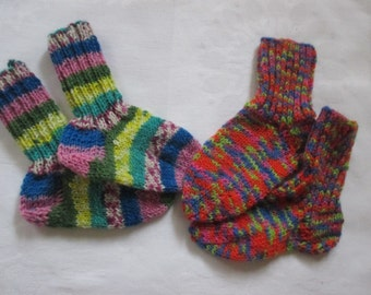 2 Pack Twin Pack baby socks hand made foot ca. 11.5 and 12 cm size 18/19 socks wool