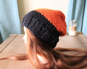 Handmade/halloween hat/beanie/black-orange hat/winter beanie