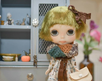Wrap around scarf in earthy multi for Blythe, Pullip or similar sized doll