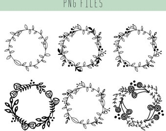 Wreath Clip Art / Floral Wreath  / Wedding Clip Art / Scrapbook supplies / Hand drawn doodle / Black and White / Doodle Art / Wedding cards