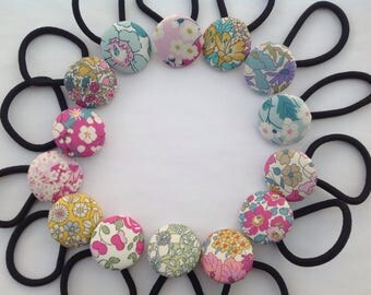 Handmade Liberty of London Fabric Button Ponytail holders. Hair Accessories. Cotton. Girls. Gifts. School. Assorted.