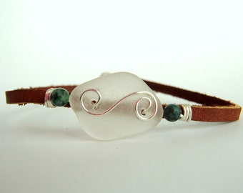 Sea glass wire-wrapped leather bracelet, Seaglass bracelet, Wire wrapped bracelet, Leather bracelet