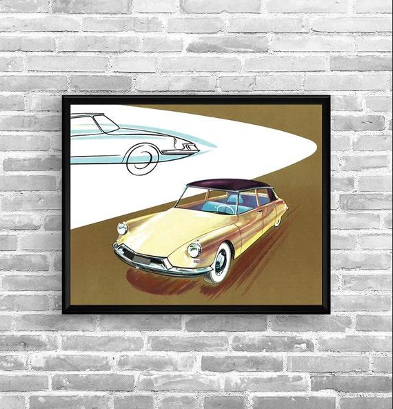 Affiche citroen ds 1957 garage atelier vintage limited for Garage citroen pantin atelier