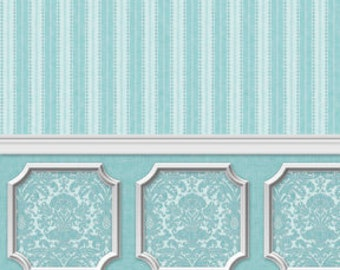 Dollhouse Miniature Wallpaper Damask Stripe Blue Opal Wainscot