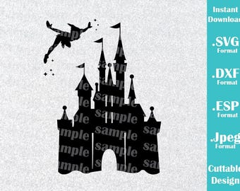 INSTANT DOWNLOAD SVG Disney Inspired Castle Peter Pan for Cutting Machines Svg, Esp, Dxf and Jpeg Format Cricut Silhouette