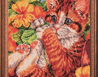 "Bead Embroidery Kit DIY Funny Kitten 7.8""x10.2"" Color Canvas Bead Set Needle Guide Beginners"