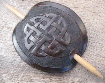 Hand Tooled Leather Hair Barrette with Celtic Knot design. Free Shipping