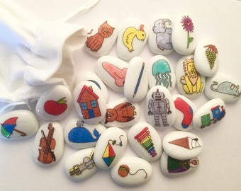 Reversible, Alphabet, ABC, Story Stone, Sack, Set, Lower Case, Letters, Reading, Writing, Early Literacy