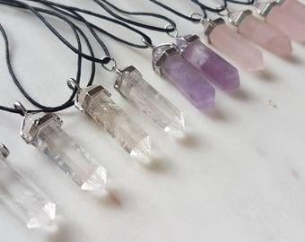 Double terminated healing necklace // Clear quartz Rose quartz and Amethyst