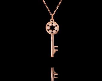 14k Rose Gold  Diamond Key Necklace , Key Pendant,  Custom , Diamond Key , White Gold Key Necklace, Yellow gold Key Pendant, Charm