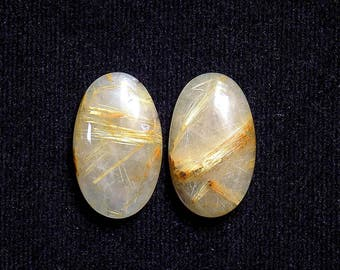 Golden Rutile Rutilated Quartz Cabochon Oval 27mm, Genuine 2pcs Hand Polished Yellow Rutile Quartz Gemstones Cabochon
