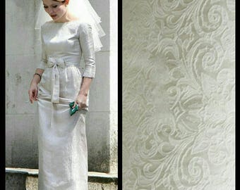 Custom Made 1060's Retro Bow Jacquard Legend White Wedding Dress Evening Dress