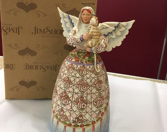 Jim Shore Angel with Curious Cat Figurine