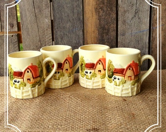 Marks and Rosenfeld Farm House Barn Cottage Set of 4 Mugs Rare