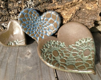 Heart Dishs! Set of 3 Handmade pottery