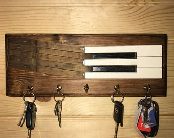 Piano Key Rack, Piano Key Hook, Key Holder, Entryway Home Organization, Recycled Home Decor, Rustic Home Decor, Musician Gift