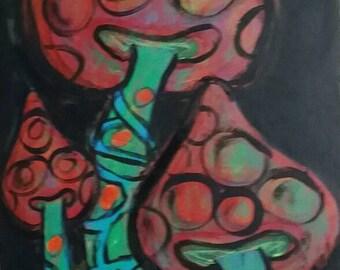 Magic mushrooms art, fluorescent