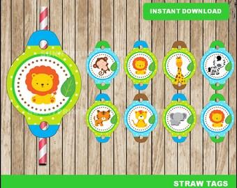 Safari Straw Tags; printable Safari baby shower Straw Tags, Safari party Straw Tags instant download