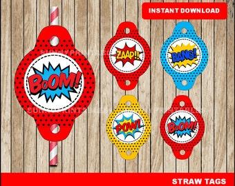Superhero Straw Tags; printable Super Hero Straw Tags, Superhero party Straw Tags instant download