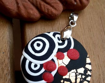 Retro Mini Art Polymer Clay Pendant Handmade Red Black White Pendant for Necklace