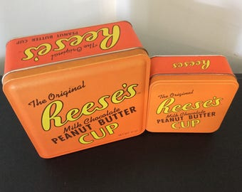 Vintage Reese's peanut butter cup tins 1992 & 1995