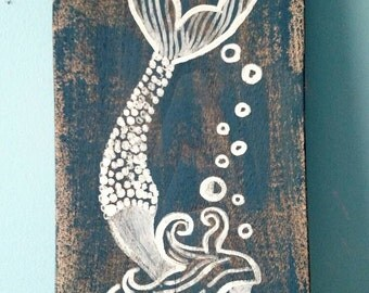 """Mermaid Painting on Distressed Wood (16"""" x 7"""")"""