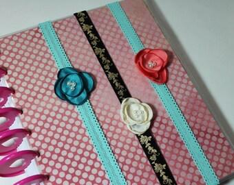 Custom decorative flower PLANNER BAND:Happy Planner Planner Band,Planner accessories, Elastic Band, Fabric Flower, Create 365, Mambie