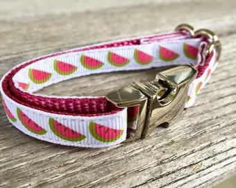 "Watermelon Teacup Dog Collar, 3/8"" Wide Dog Collar"