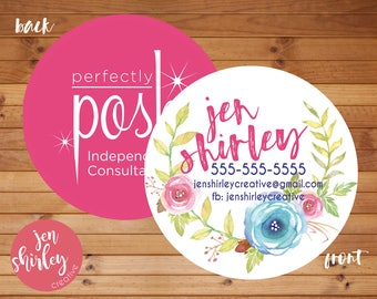 Business Cards, Perfectly Posh Card, Branding, Marketing, Personalized Business, Calling Cards, Circle Business Card, Direct Sales, Pamper