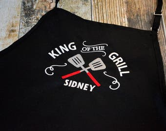 King of the Grill Personalized Apron - Available in Black, White, Blue, Green, Red and more colors of Aprons - BBQ Men's Apron