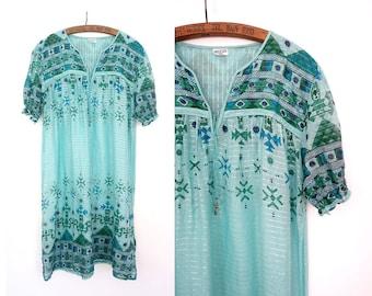 RESERVED 1970s indian gauze dress / Laurel dress / vintage indian cotton dress bohemian indian dress / 70s vintage indian hippie dress