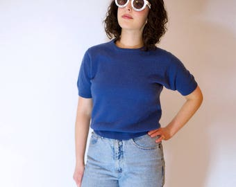 1980s Blue Cashmere Sweater // Vintage Blue Short Sleeve Sweater