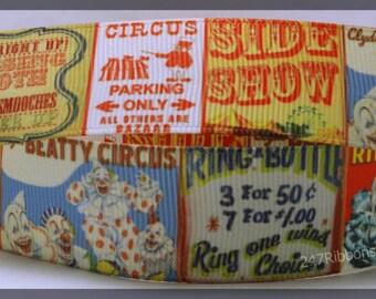 "Circus Act Show Animals Fun Traveling Inspired Printed Grosgrain Ribbon 1 """