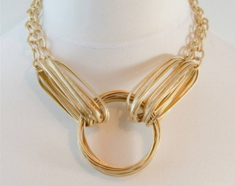 Gorgeous Matt Gold Statement Necklace
